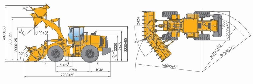 габариты LOVOL FL-936FII